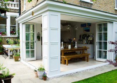 Georgian style timber bifold doors Twickenham TW2, Incorporates Centor bifold door gear