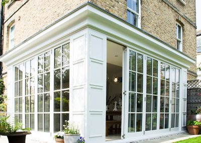 Georgian timber bifold doors Twickenham home, incorporates centor bifold door gear